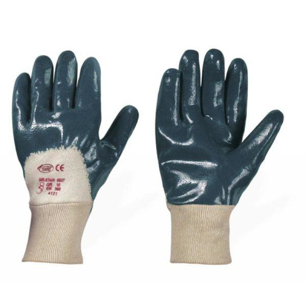 Перчатки нитриловые, манжет-резинка неполный облив